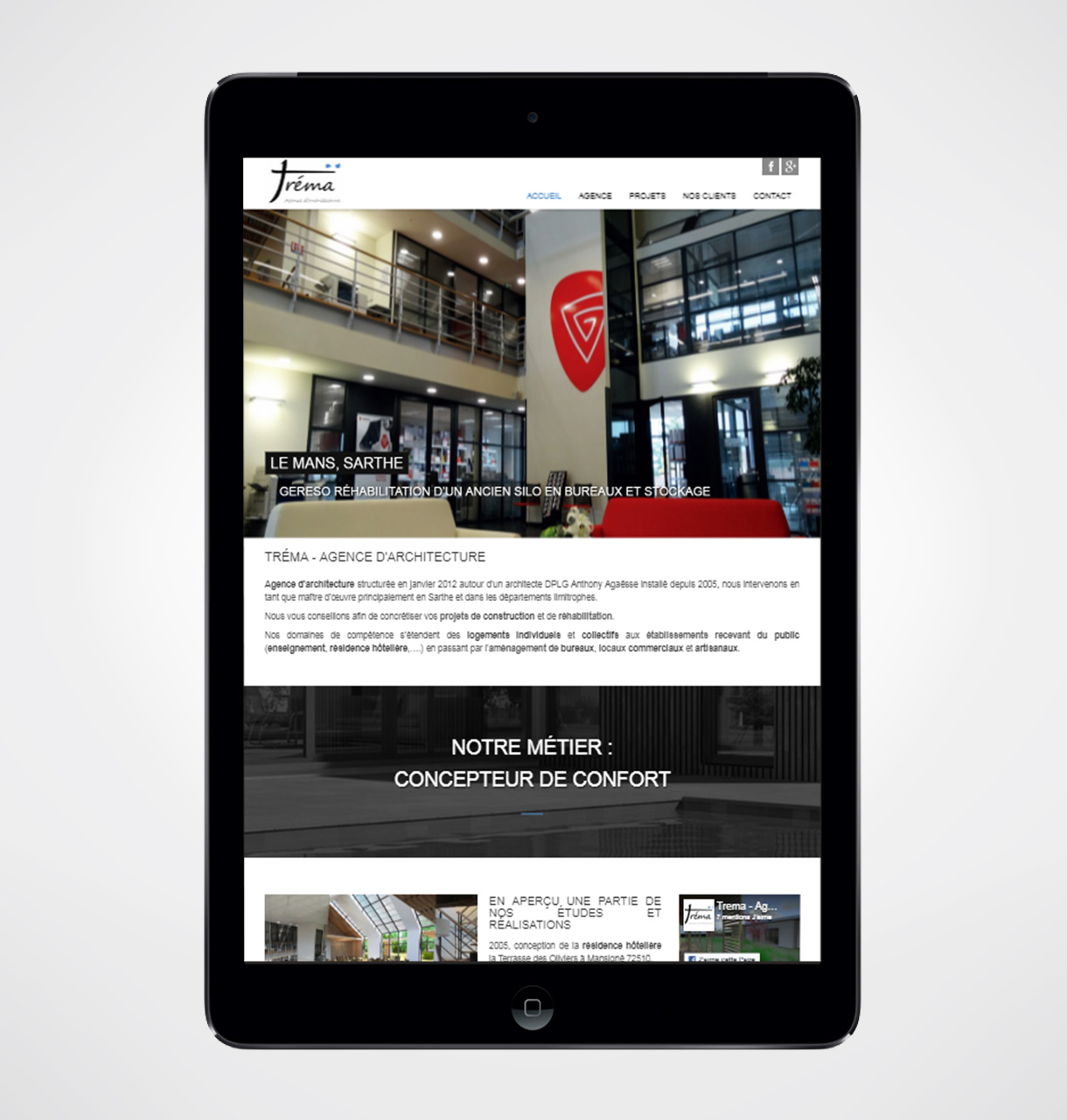 création site internet cabinet architecte le mans : tréma