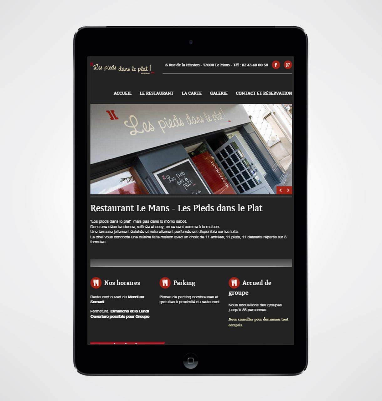 cr ation site internet restaurant les pieds dans le plat. Black Bedroom Furniture Sets. Home Design Ideas