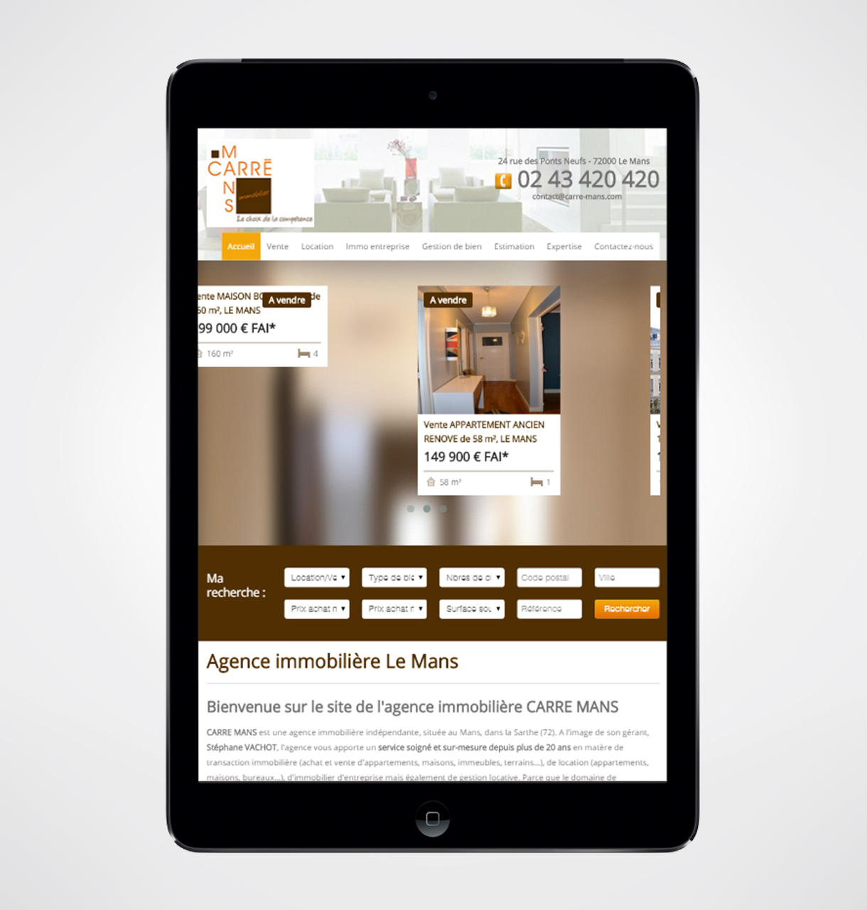 Cr ation site internet agence immobili re carr mans for Agence immobiliere site