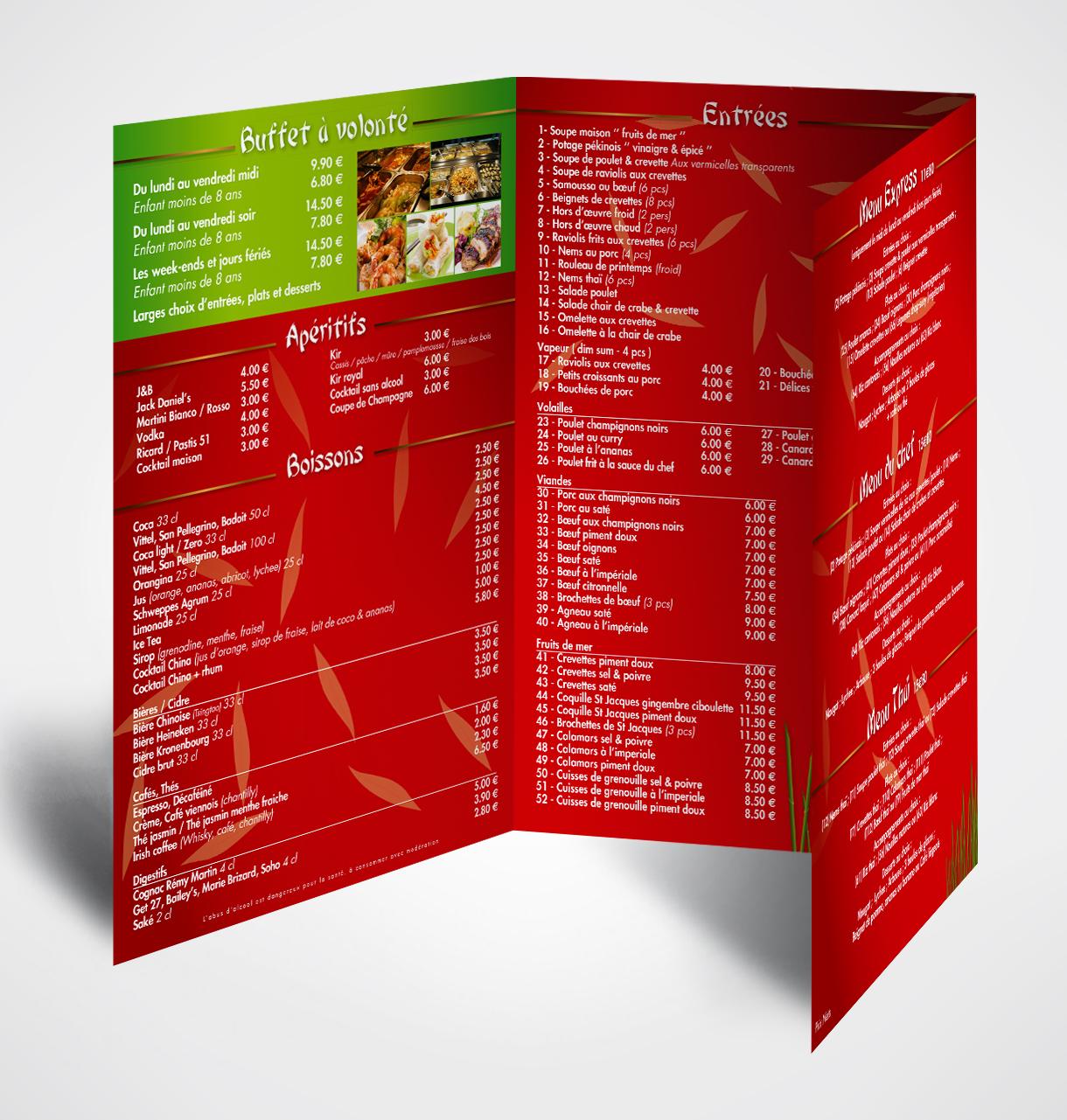 Cr ation impression menu restaurant chinois asiatique le mans - Restaurant chinois portes les valence ...